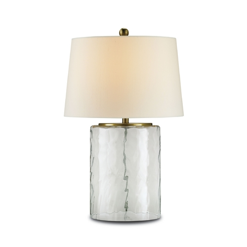 Currey and Company Lighting Modern Table Lamp with White Shade in Clear Glass/brass Finish 6197