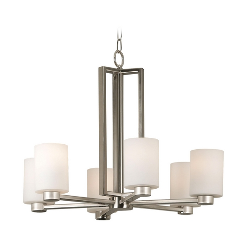 Kenroy Home Lighting Modern Chandelier with White Glass in Brushed Steel Finish 10186BS