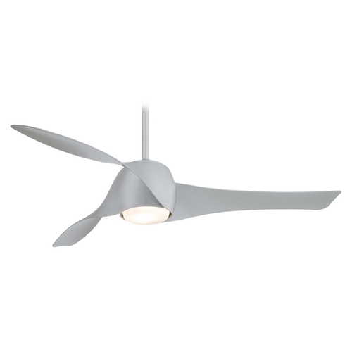 Minka Aire Fans Modern Ceiling Fan with Light with White Glass in Silver Finish F803-SL