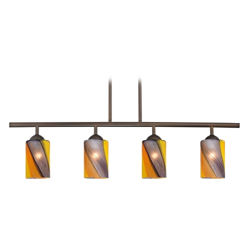 Design Classics Lighting Modern Island Light with Multi-Color Glass in Neuvelle Bronze Finish 718-220 GL1015C