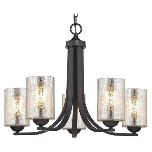 Design Classics Lighting Bronze Chandelier with Mercury Cylinder Glass and 5-Lights 584-220 GL1039C