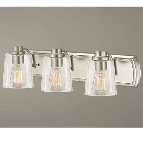 Design Classics Lighting Industrial 3-Light Bathroom Light with Clear Glass in Satin Nickel 1203-09 GL1027-CLR