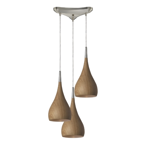 Elk Lighting Modern Multi-Light Pendant Light with Wood Shades and 3-Lights 31341/3MO