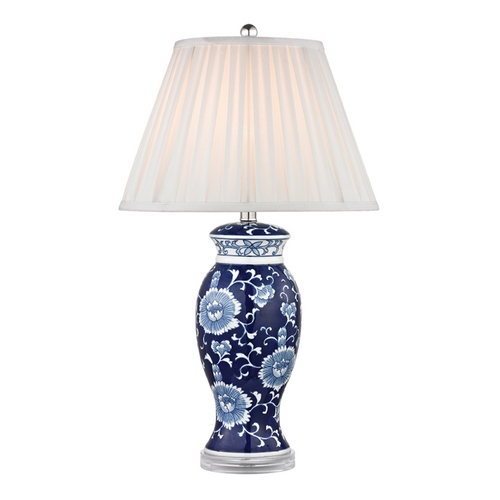 Dimond Lighting LED Table Lamp with White Shades in Blue and White Hand Paint Finish D2474-LED