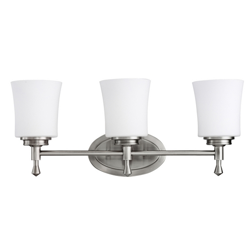 Kichler Lighting Kichler Bathroom Light with White Glass in Brushed Nickel Finish 5361NI