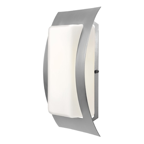 Access Lighting Outdoor Wall Light with White Glass in Satin Nickel Finish 20449-SAT/OPL