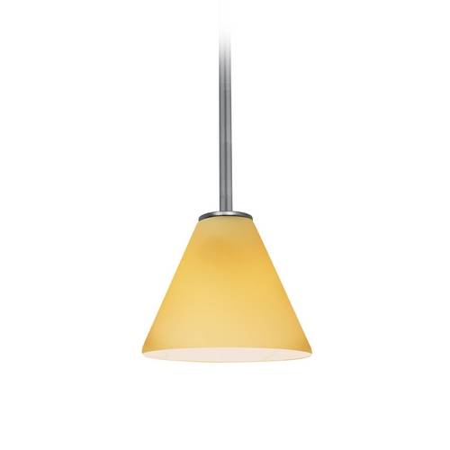 Access Lighting Modern Mini-Pendant Light with Amber Glass 28004-2R-BS/AMB