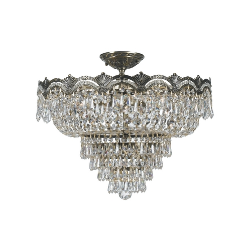 Crystorama Lighting Crystal Semi-Flushmount Light in Historic Brass Finish 1485-HB-CL-S