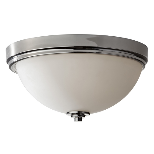 Feiss Lighting Modern Flushmount Light with White Glass in Polished Nickel Finish FM373PN