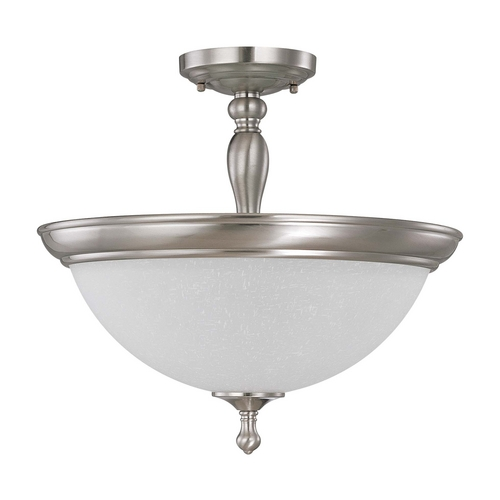 Nuvo Lighting Semi-Flushmount Light with White Glass in Brushed Nickel Finish 60/2786
