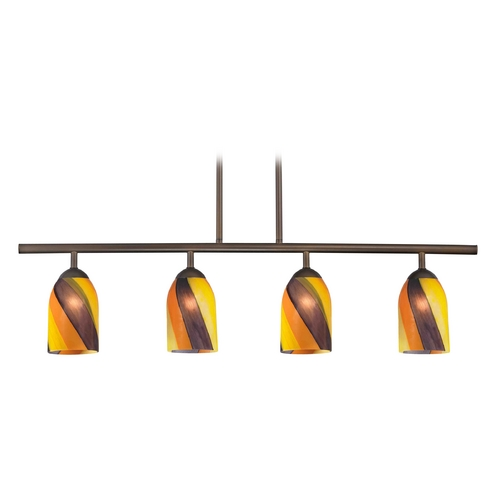 Design Classics Lighting Modern Island Light with Multi-Color Glass in Neuvelle Bronze Finish 718-220 GL1015D