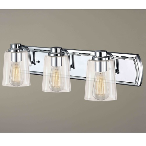 Design Classics Lighting Industrial 3-Light Vanity Light with Clear Glass in Chrome 1203-26 GL1027-CLR