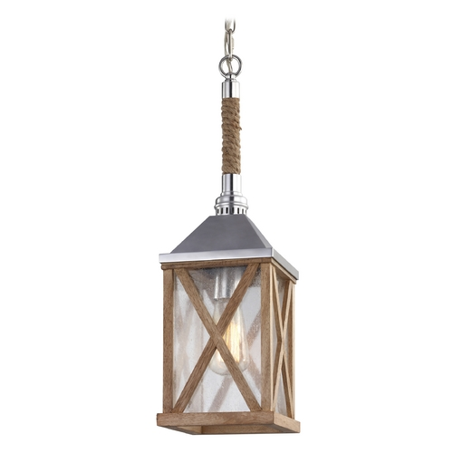 Feiss Lighting Feiss Lighting Lumiere Natural Oak / Brushed Aluminum Mini-Pendant Light with Rectangle Shade P1326NO
