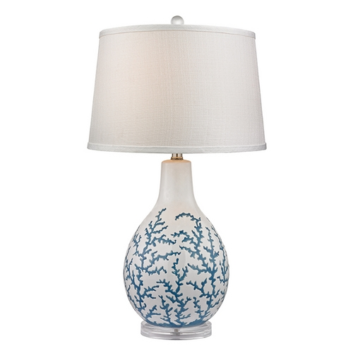 Dimond Lighting Table Lamp with White Shade in Pale Blue with White Finish D2478