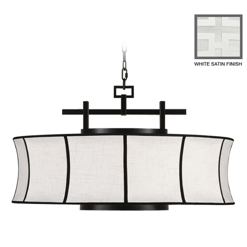Fine Art Lamps Fine Art Lamps Black + White Story White Satin Lacquer Pendant Light with Drum Shade 233540-5ST