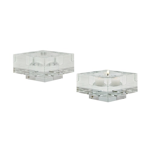 Dimond Lighting Square Windowpane Crystal Candleholders - Smallall. Set Of 2 980006/S2
