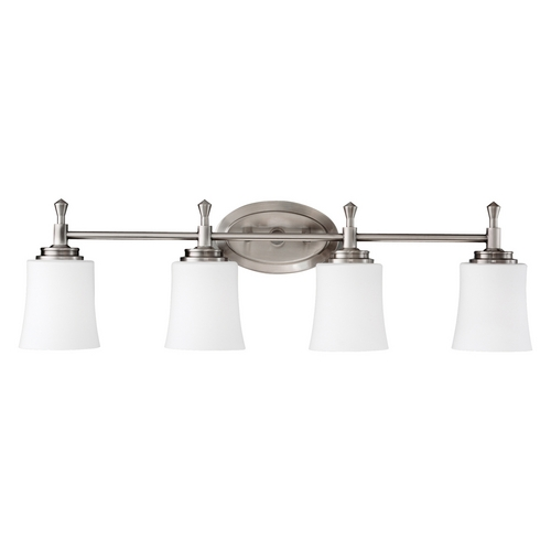 Kichler Lighting Kichler Bathroom Light with White Glass in Brushed Nickel Finish 5362NI