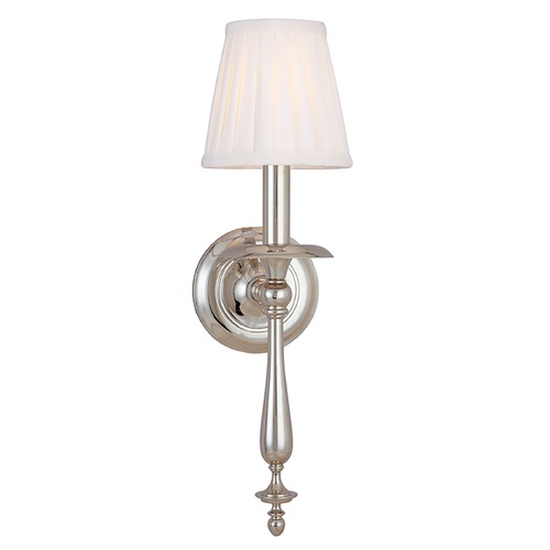 Hudson Valley Lighting Sconce Wall Light with White Shade in Polished Nickel Finish 431-PN