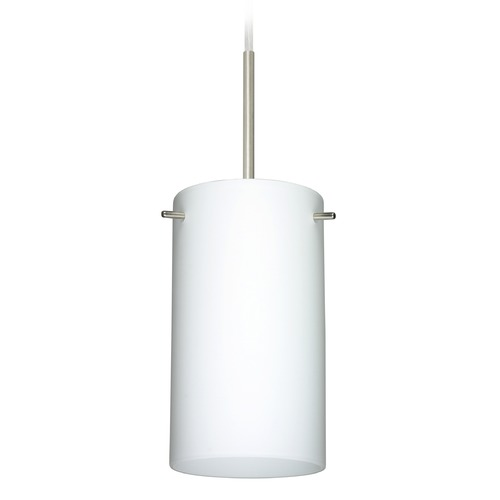 Besa Lighting Besa Lighting Stilo Satin Nickel Mini-Pendant Light with Cylindrical Shade 1BT-440407-SN