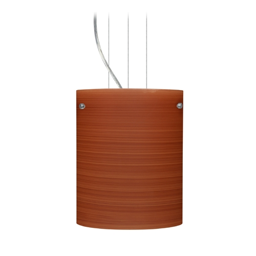 Besa Lighting Modern Pendant Light with Brown Glass in Satin Nickel Finish 1KG-4006CH-SN