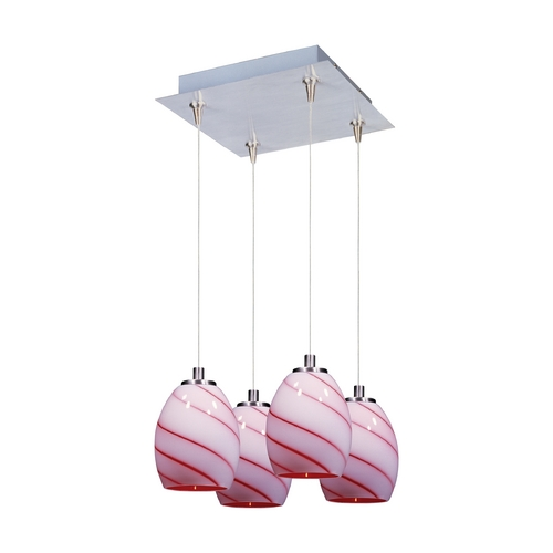 ET2 Lighting Modern Low Voltage Multi-Light Pendant Light with Multi-Color Glass and 4-Lights E94736-107SN