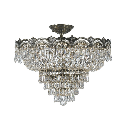 Crystorama Lighting Crystal Semi-Flushmount Light in Historic Brass Finish 1485-HB-CL-SAQ