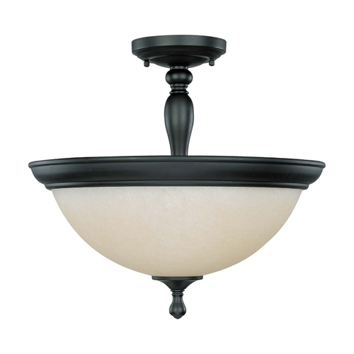 Nuvo Lighting Semi-Flushmount Light with Beige / Cream Glass in Aged Bronze Finish 60/2787