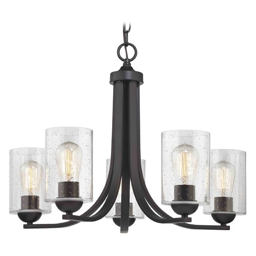 Design Classics Lighting Seeded Glass Chandelier Bronze 5 Lt 584-220 GL1041C