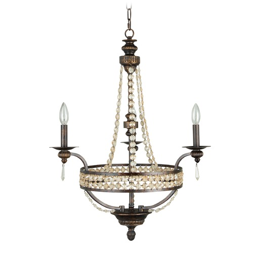 Jeremiah Lighting Jeremiah Cortana Peruvian Bronze Crystal Chandelier 5524PR3