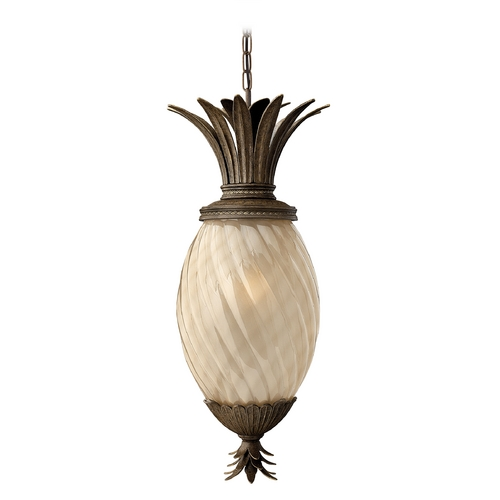 Hinkley Lighting Outdoor Hanging Light with Amber Glass in Pearl Bronze Finish 2122PZ-GU24