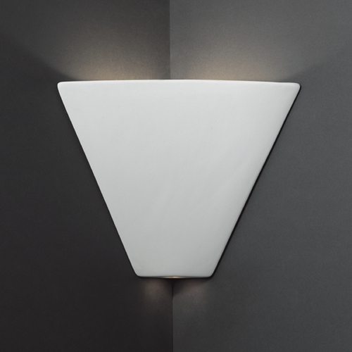 Triangle Corner Sconce Wall Light In Bisque Finish Cer