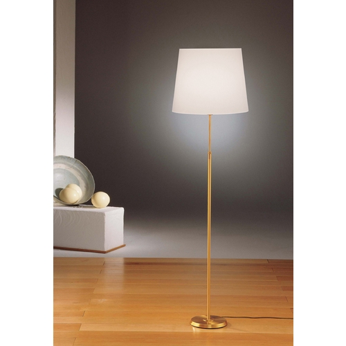 Holtkoetter Lighting Holtkoetter Modern Floor Lamp with White Shade in Brushed Brass Finish 6354 BB SWRG