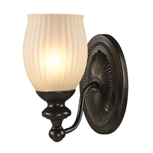 Elk Lighting Sconce Wall Light with Beige / Cream Glass in Oil Rubbed Bronze Finish 11650/1