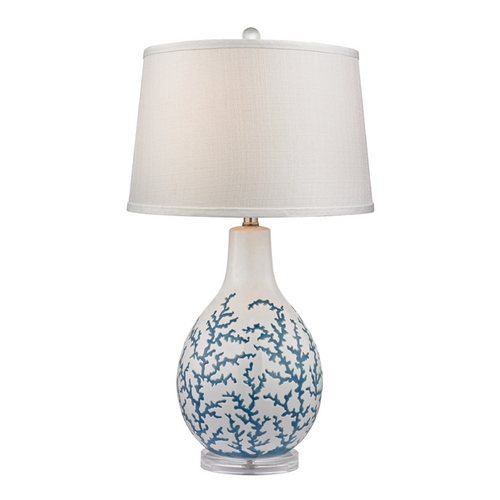 Dimond Lighting LED Table Lamp with White Shade in Pale Blue with White Finish D2478-LED