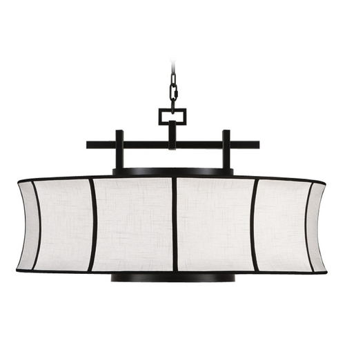 Fine Art Lamps Fine Art Lamps Black + White Story Black Satin Lacquer Pendant Light with Drum Shade 233540-6ST