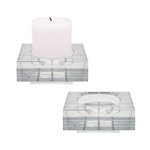 Dimond Home Square Windowpane Crystal Candleholders - Large. Set Of 2 980007/S2