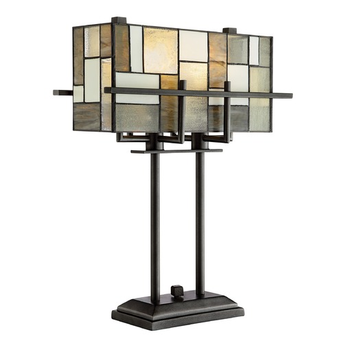 Lite Source Lighting Lite Source Collins Aged Gun Metal Table Lamp with Rectangle Shade C41397