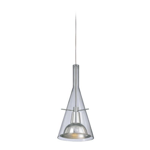 George Kovacs Lighting Modern Mini-Pendant Light with Clear Glass in Brushed Nickel Finish P8111-084