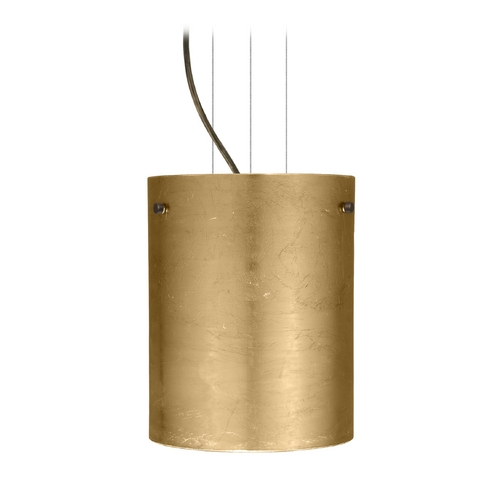 Besa Lighting Modern Pendant Light with Gold Glass in Bronze Finish 1KG-4006GF-BR