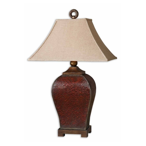 Uttermost Lighting Table Lamp with Beige / Cream Shade in Deep Red Finish 27662
