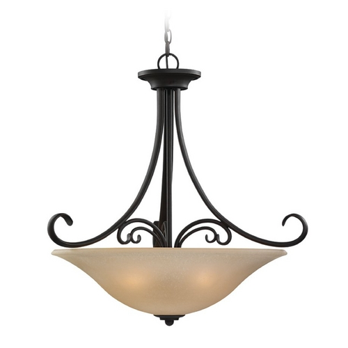 Sea Gull Lighting Pendant Light with Beige / Cream Glass in Chestnut Bronze Finish 65120-820