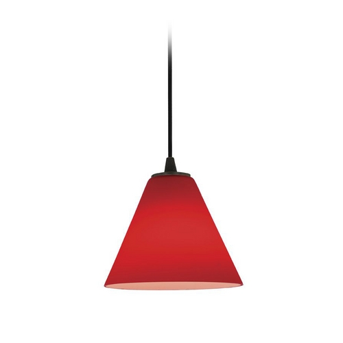 Access Lighting Modern Mini-Pendant Light with Red Glass 28004-2C-ORB/RED