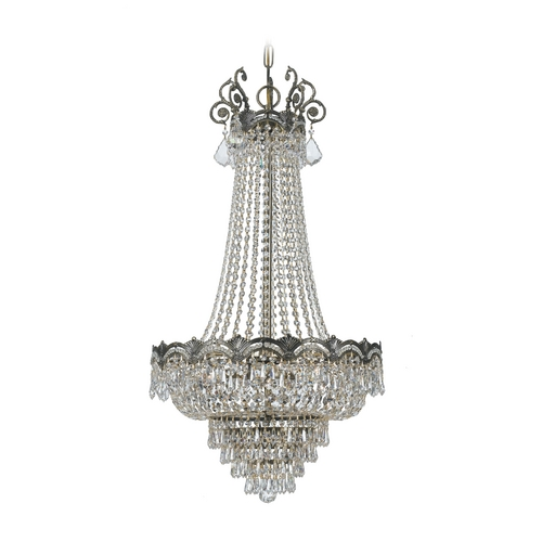 Crystorama Lighting Crystal Pendant Light in Historic Brass Finish 1487-HB-CL-MWP