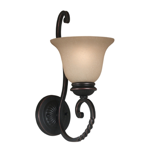 Kenroy Home Lighting Sconce Wall Light with Amber Glass in Oil Rubbed Bronze Finish 10192ORB