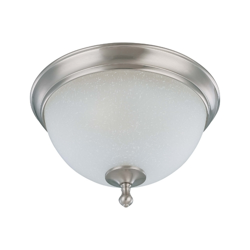 Nuvo Lighting Flushmount Light with White Glass in Brushed Nickel Finish 60/2791