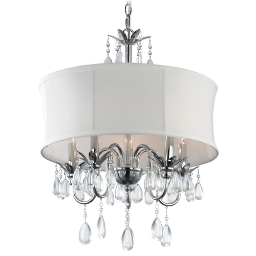 Ashford Classics Lighting White Drum Shade Crystal Chandelier Pendant Light 2234 WH