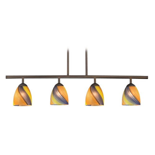 Design Classics Lighting Modern Island Light with Multi-Color Glass in Neuvelle Bronze Finish 718-220 GL1015MB