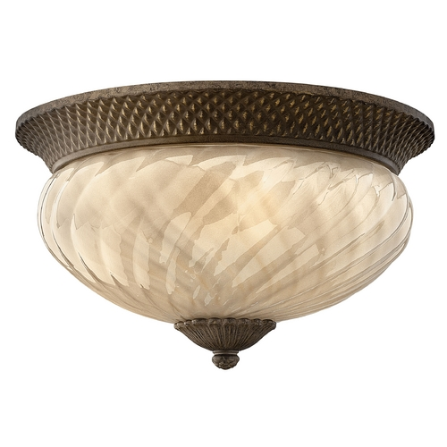 Hinkley Lighting Close To Ceiling Light with Amber Glass in Pearl Bronze Finish 2123PZ-GU24