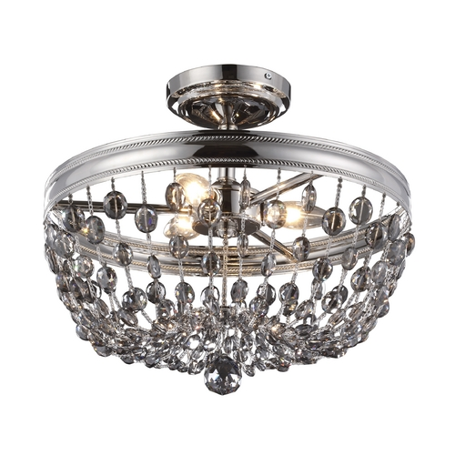 Feiss Lighting Feiss Lighting Malia Polished Nickel Semi-Flushmount Light SF312PN