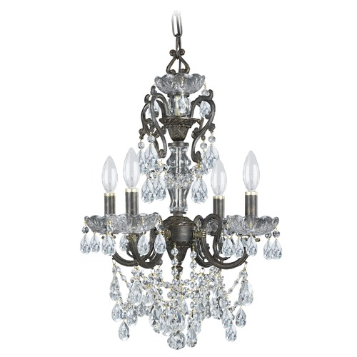 Crystorama Lighting Crystorama Legacy 4-Light Crystal Chandelier in English Bronze 5194-EB-CL-MWP